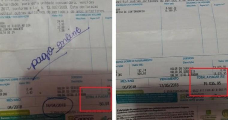 Vazamento causou aumento na conta de água de R$ 50 para R$ 19 mil