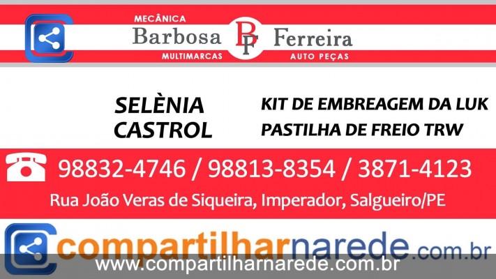 Mecânica Barbosa e Ferreira Auto Peças - Selénia Kit de embreagem da Luk Castrol Pastilhas de freio trw e outras marcas.