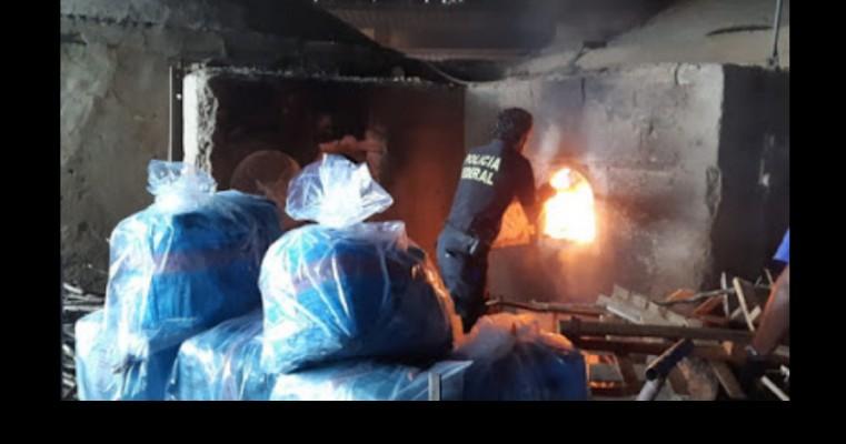 Duas toneladas de drogas são incineradas pela Polícia Federal no Ceará