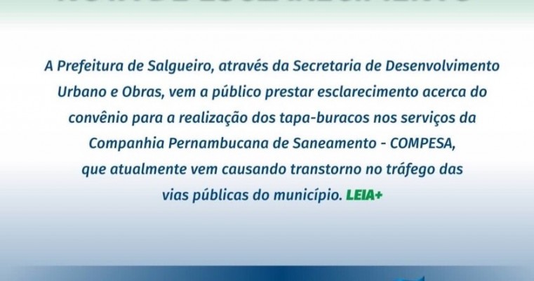 NOTA DE ESCLARECIMENTO - PREFEITURA MUNICIPAL DE SALGUEIRO