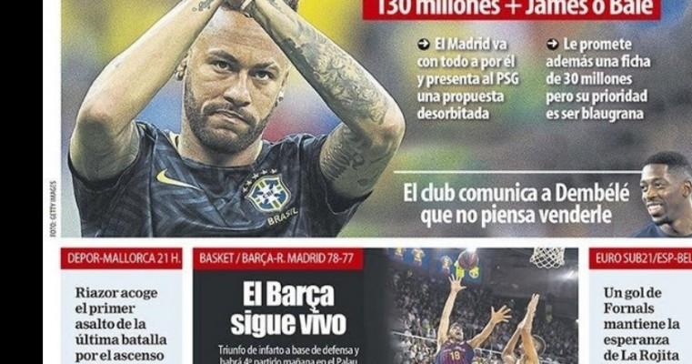 Real Madrid prepara oferta de R$ 560 milhões mais James ou Bale por Neymar