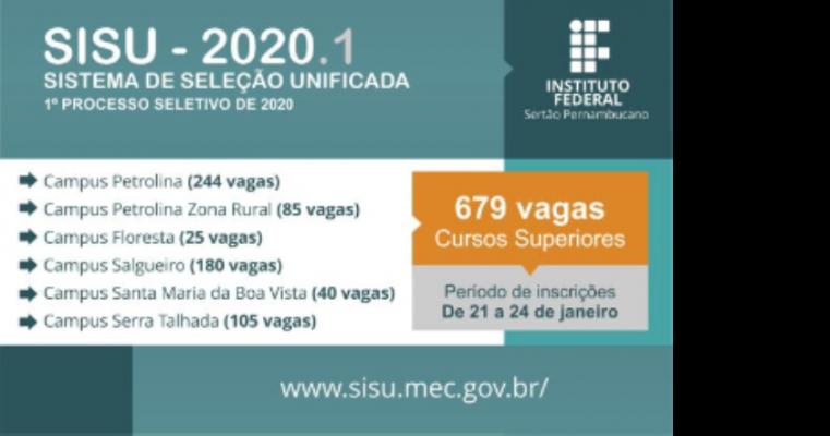 IF Sertão-PE oferta 679 vagas em cursos superiores para o SiSU 2020.1