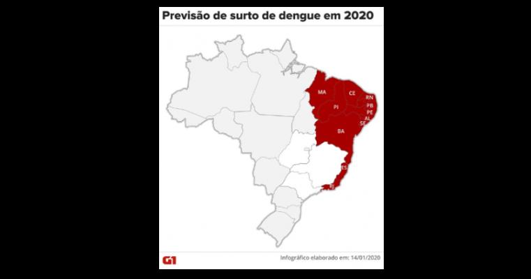 Ministério da Saúde diz que 11 estados poderão ter surto de dengue em 2020