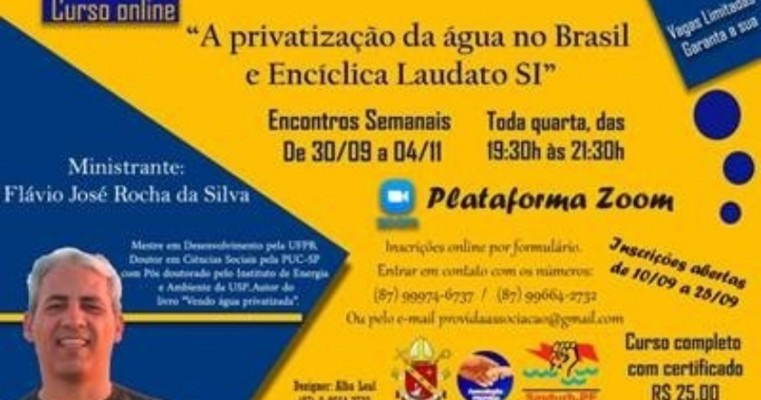 Diocese de Floresta, no Sertão de Pernambuco, promove curso on-line sobre privatização da água no Brasil