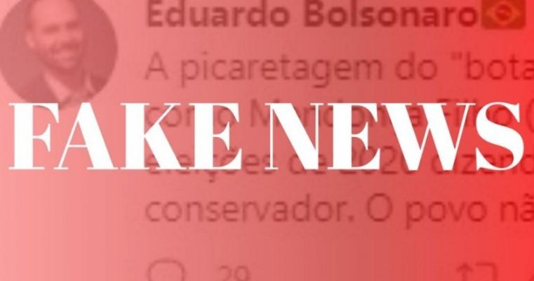 É Fake: Eduardo Bolsonaro não fala de Mendonça no seu Twitter