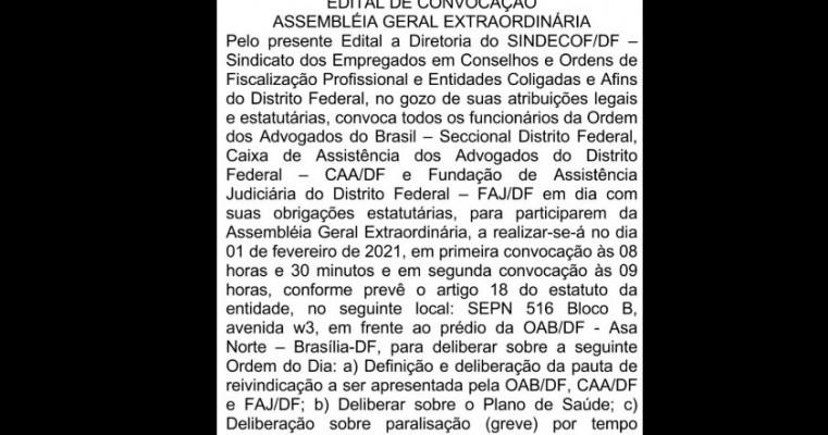 Funcionários da OAB-DF podem aprovar greve hoje