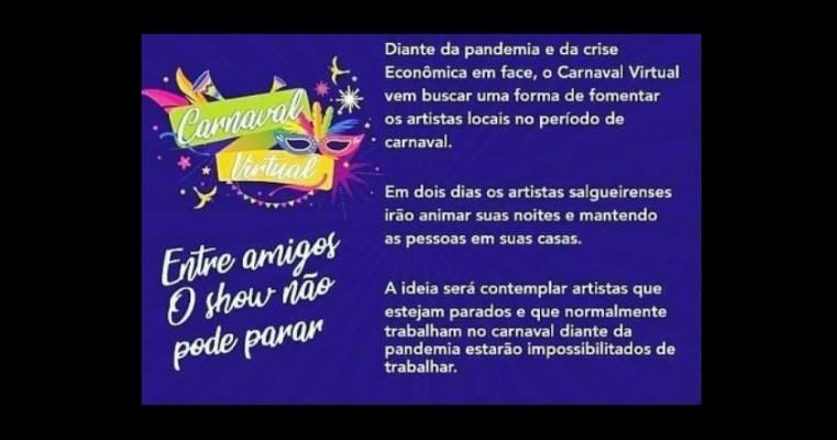 """Artistas salgueirenses pedem patrocínio para realização de """"Carnaval Virtual"""""""