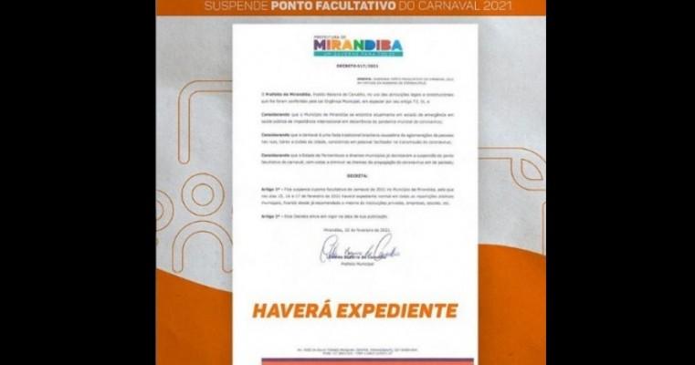 Prefeitura de Mirandiba suspende ponto facultativo do Carnaval