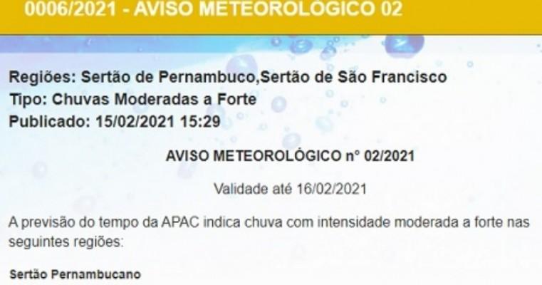 APAC emite aviso sobre possibilidade de chuvas moderadas a fortes no Sertão pernambucano