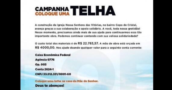 Área Pastoral São Francisco de Assis faz campanha para instalação de telhas em igreja no bairro Copo de Cristal
