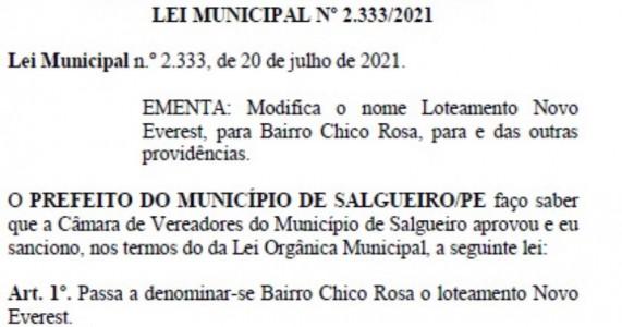 Salgueiro: Loteamento Novo Everest passa a se chamar bairro Chico Rosa