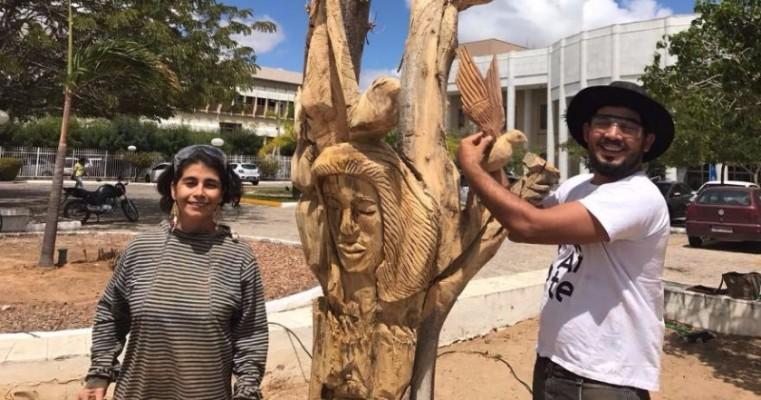 Artistas transformam troncos de árvores mortas em arte em Petrolina