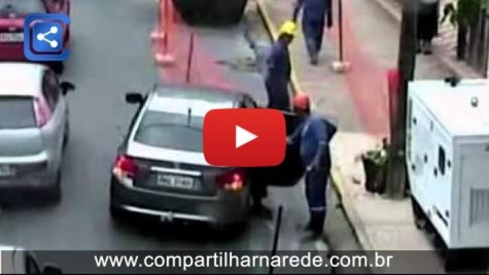 Câmeras de segurança no Recife mostrando a solidariedade do povo