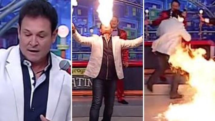 Luis Ricardo, o Bozo, pega fogo ao vivo durante o 'Programa do Ratinho'
