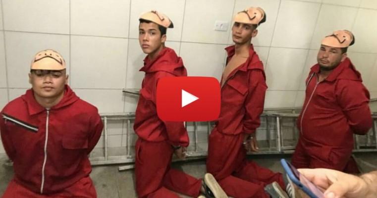 Com fantasia da série La Casa de Papel, youtuber faz pegadinha no Cotel e quase é baleado